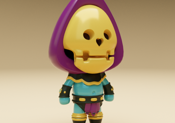 Cartoon Skeleton Warrior Character Low-poly