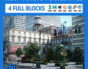 NYC - 4 Blocks - 31 Buildings V2 3D asset game-ready