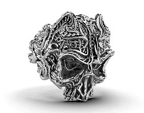Gothic Punk Skull Ring 3D Model Inside Hollow Version -