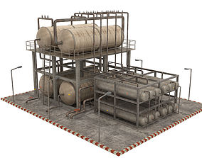 3D asset game-ready Oil Refinery