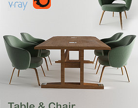 table and chair 3D model PBR