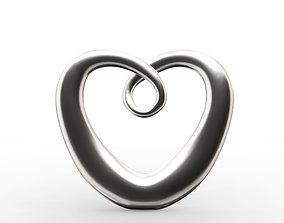 Modern Chrome Heart Decoration 3D