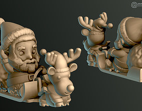 3D printable model ornament Santa Claus in Sleigh