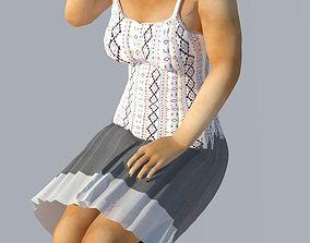 3D indian girl sitting model