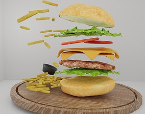 3D Burger fried potatoes mayonnaise and lettuce