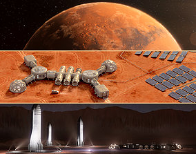3D Martian base colony in the crater and entire planet 1
