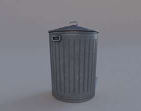 Low Poly PBR Trash Can 3D asset game-ready