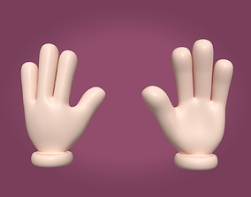 3D asset Cartoon Hand - Hello Sign - Four Fingers
