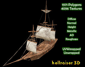Medieval Ship - Damaged Textured 3D asset