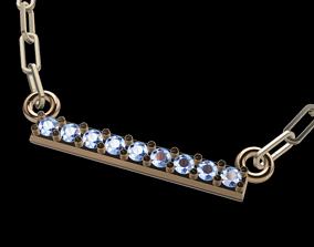 Dainty Diamond Stone Bar Pendant 3D print model necklace