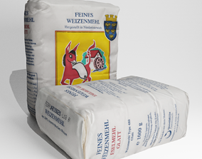 PBR Small 1kg paper paper sack of flour 3d scan