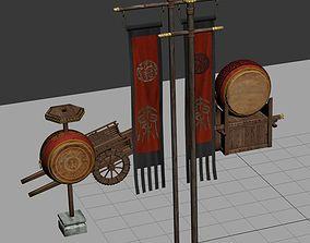 flags drum cart 3D