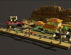 3D asset Canyon Highway Voxel Art