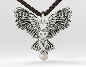 blackened silver owl pendant with 4mm 3D printable model