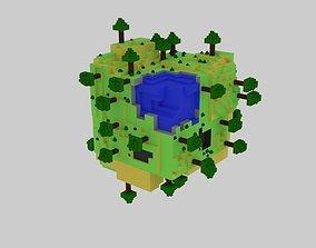 World Cube Lowpoly 3D asset