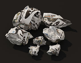 Crumpled Paper Low-Poly 3D model game-ready
