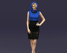 Blue headscarf woman 0426 3D
