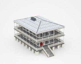 Big House With Two-storey Veranda 3D model