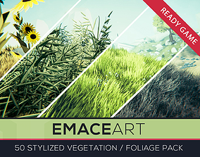 3D model Stylized Vegetable Foliage Grass and Flower Pack