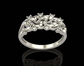 silver jewel-ring 3D print model Ring with diamonds