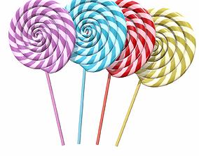 Christmas swirl lollipop 3D model