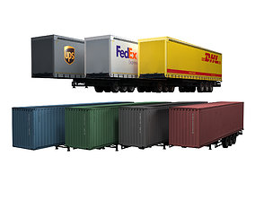 3D asset Semi trailers set