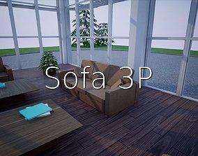 Sofa 3p SHC Quick Office LM 3D model