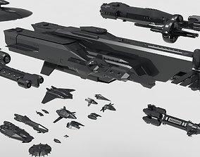 low poly spaceship pack 3D model