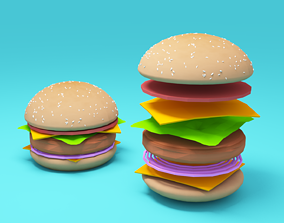 Burger low-poly 3d model realtime