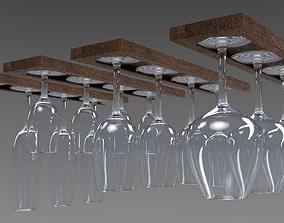 Set of 4 wine glasses with rack 3D model