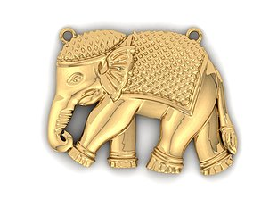 elephant charm 3D print model jewelry