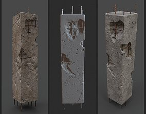 3D asset OLD DAMAGED PILLAR