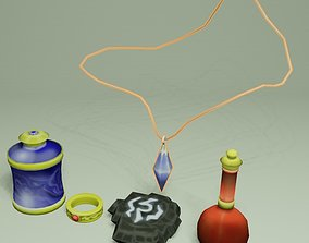 3D model Lowpoly fantasy magic items