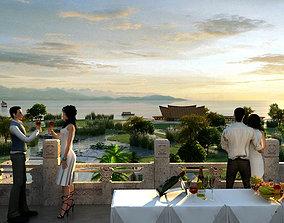 3D model Leisure holiday villa balcony 01