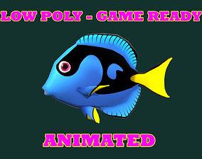 3D asset Low poly Blue Tang Fish Cartoon Animated - Game
