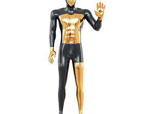 Faceless male mannequin with a gold face 53 3D