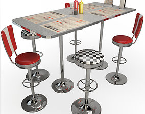 Retro American Bar Stools and Table 3D