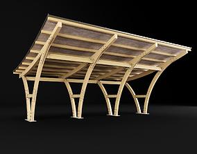 Wooden carport 3D model