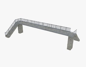 3D model Pedestrian bridge footbridge - low poly