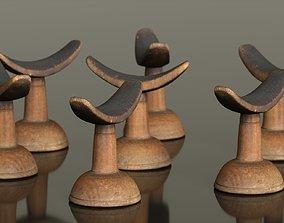 3D model Headrest Africa Wood Furniture Prop 14