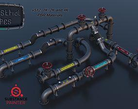 Modular Industrial Pipes PBR 3D asset