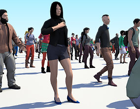200 Colorful Low Poly People Collection 3D model