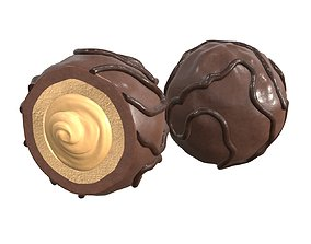 Chocolate candy whole and half 3D