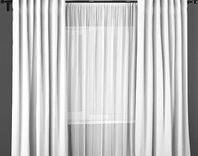 White polyester curtains with white tulle 3D model