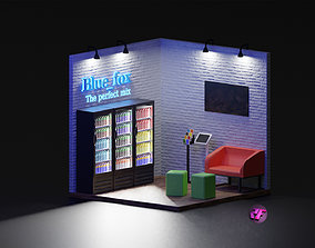 Isometric energy drink booth with fridge 3D model