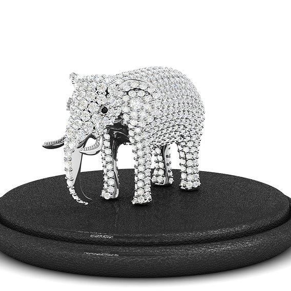 Gem Studded Elephant Pendant Necklace