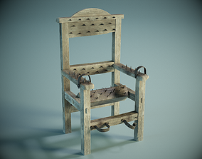 Medieval Torture Chair PBR 3D model game-ready