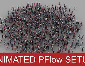 3D model animated Crowd Pflow setup