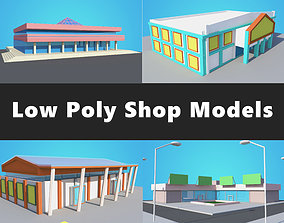 game-ready 4 Shop Mall Model Collection Low Poly