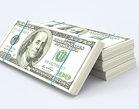 3D model low-poly Dollar Stack